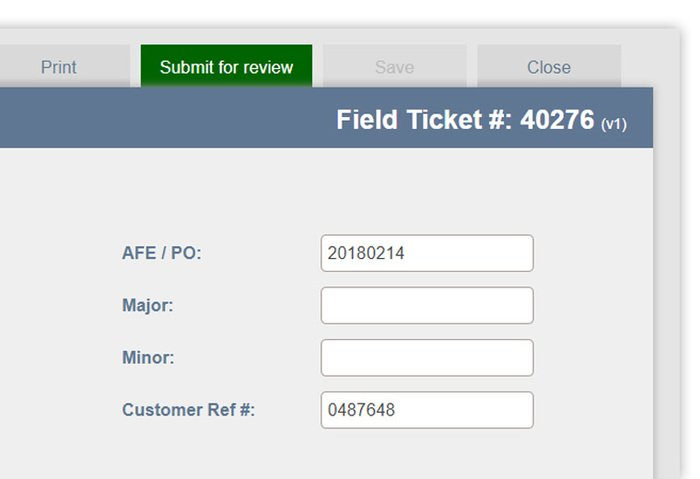field ticket