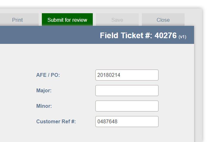 field ticket