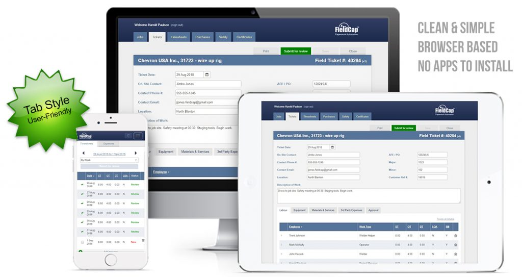 Software Company Specializing in Oilfield Field Ticket Job Tracking